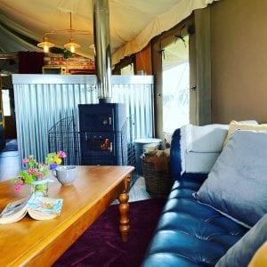 Cosy sofa and log burning stove