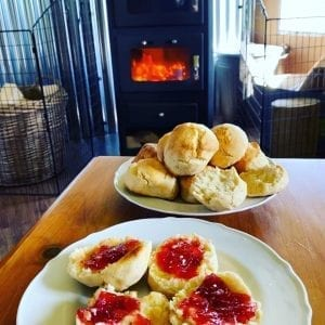 Scones baked in stove